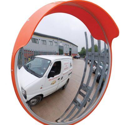External Mirror 1.5mm polycarbonate, Orange Hood 450mm Diameter